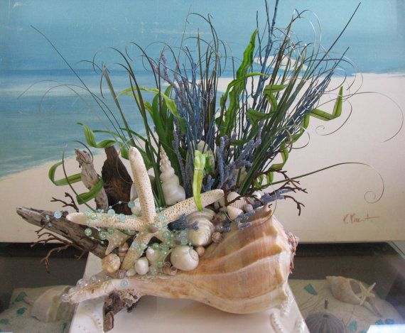 Whelk Shell Driftwood CenterpieceCoastal Home Decor