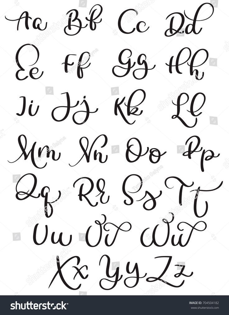 Vintage alphabet on white background. Hand drawn calligraphy lettering vector