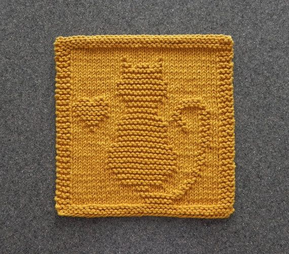 Cat Kitten Heart Knit Dishcloth Hand Knitted Unique