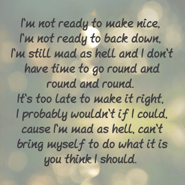 Dixie Chicks-Not Ready To Make Nice. Such a good song and helped me thru a lot!