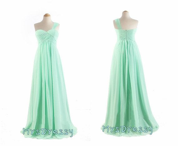 one shoulder pleated mint green, pastel green bridesmaid dress for spring wedding 2014