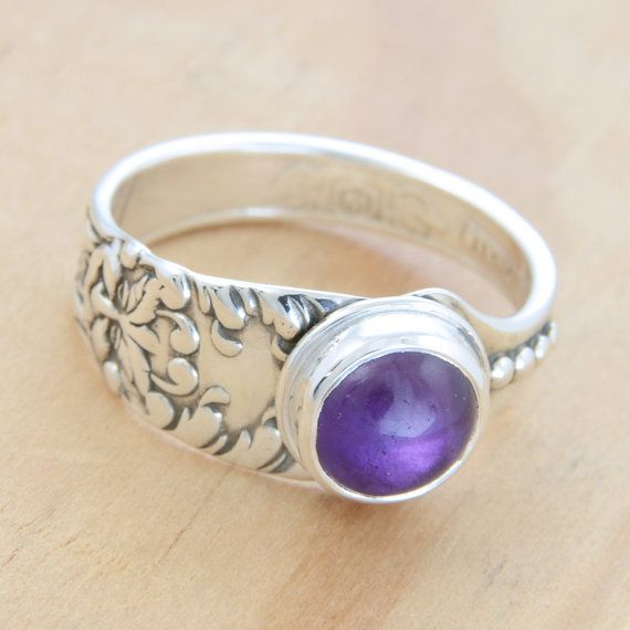 Spoon Ring with Amethyst and Green Man Face by metalsmitten, $70.00