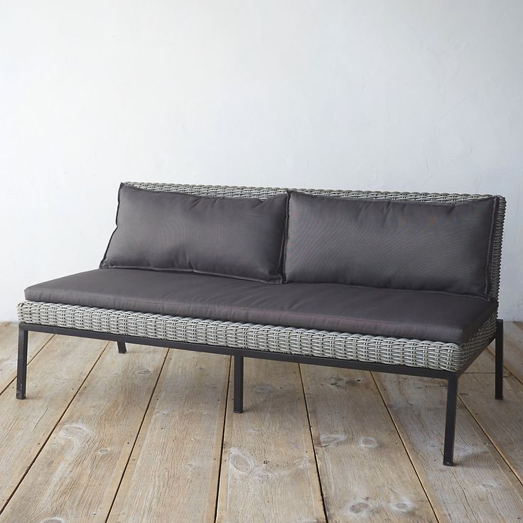 """An elegantly simple shape and comfortable cushions set this contemporary sofa apart. Each terrain-exclusive piece is woven from 100%-recyclable synthetic fibers with a lightweight aluminum frame and stainless steel legs.- A terrain exclusive- Poly rattan, aluminum frame, stainless steel legs- Cushions: spun polyester fabric, foam, polyfiber- Clean periodically with mild soap and water- Seat: 14""""H, 24""""D- Imported29.5""""H, 63""""W, 31.1""""D"""