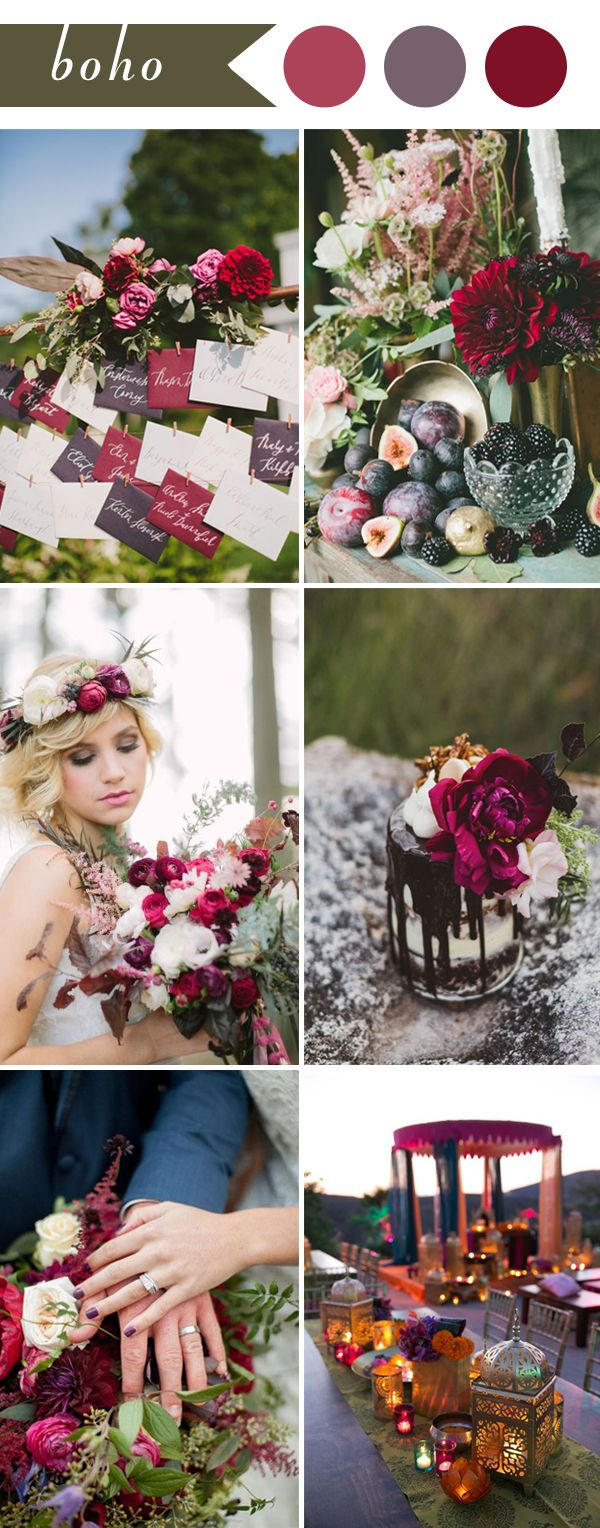 boho wedding themes ideas in color burgundy