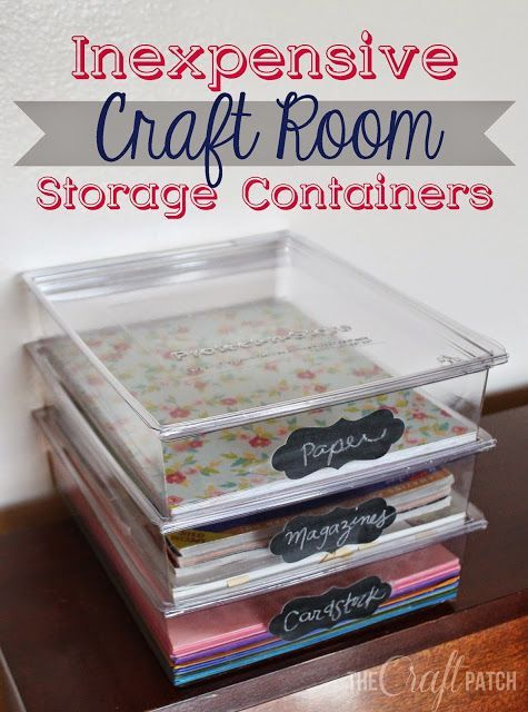 Inexpensive craft room storage containers. Love that you can see what's inside and the chalkboard labels are cute too.