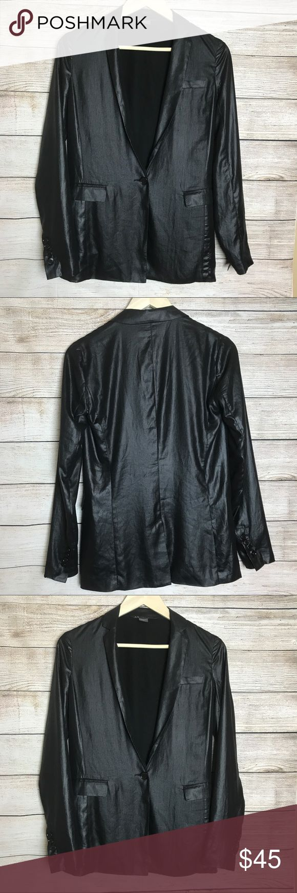 Armani Exchange Black Wet Look Blazer SZ 0 Type: Jacket 