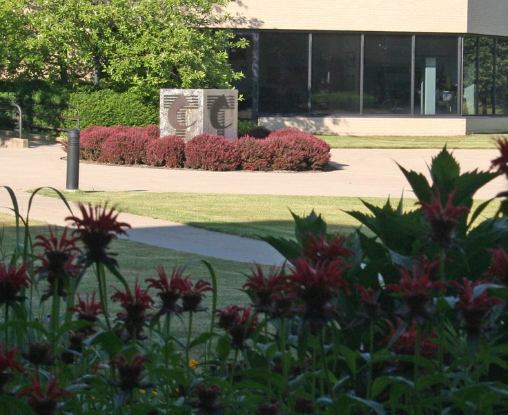 The sculpture and spring flowers