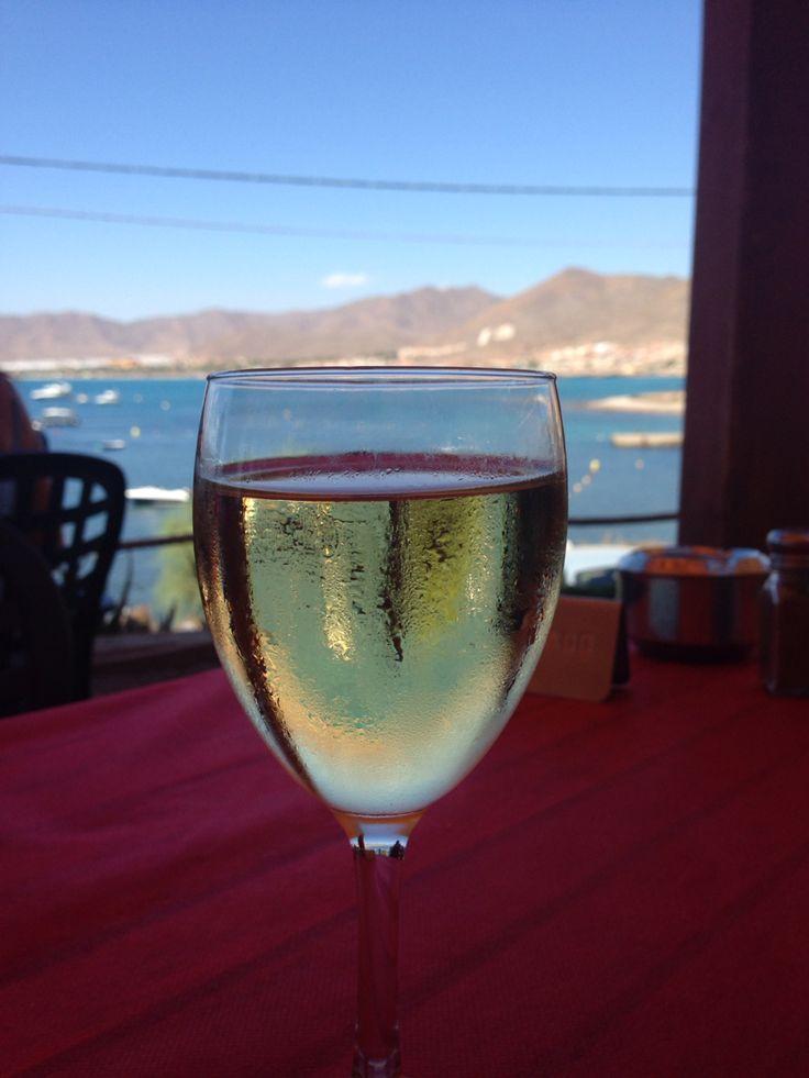 Copa de vino blanco  ...at the Antipodas Tavern, La Azohia, Murcia, Spain