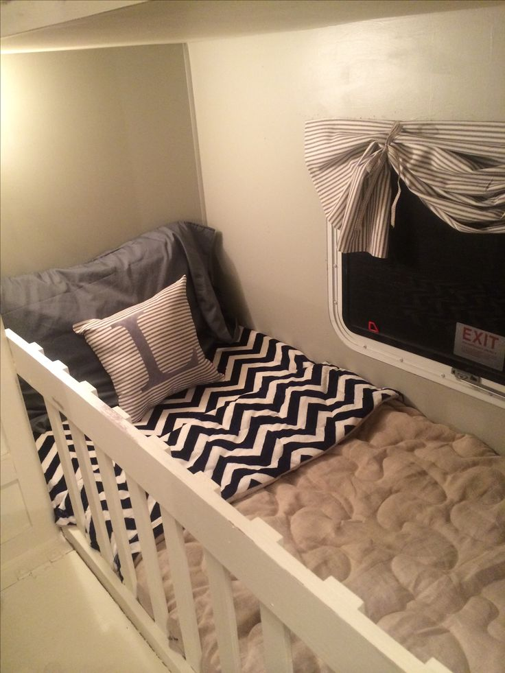 Lettys bunk! Turned into crib, didn't want a pack n play in the way.... Camper renovation finished! it turned out beautiful!