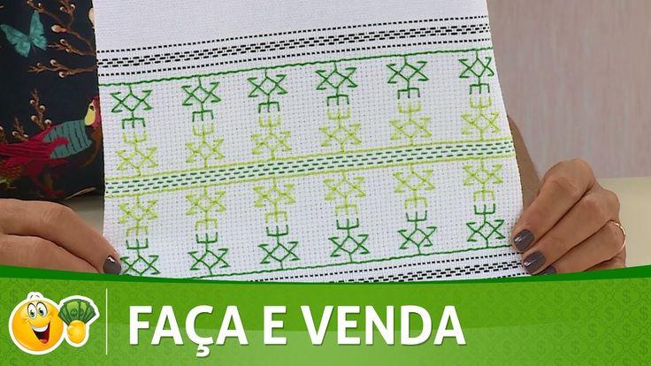Vida com Arte   Pano de Copa com bordado Hasiru por Valquíria Campanelli...