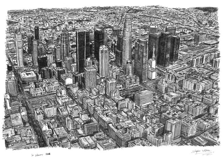 Aerial view of Los Angeles Skyline - drawings and paintings by Stephen Wiltshire MBE
