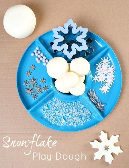 Sparkly Snowflake Winter Play Dough. Fun fine motor activity for kids. Can do with other seasons.