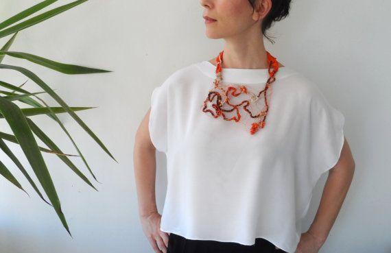 Wire Crochet Statement Necklace. Wire Jewelry. by InoriCreations