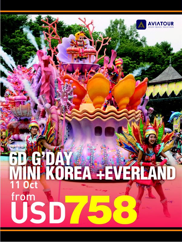 G'day Mini Korea+Everland 6D4N #AviaPromo #Travelling #Travelmania #Travelling Reservation please call: 0214223838 email:aviaweb@avia-tour.com