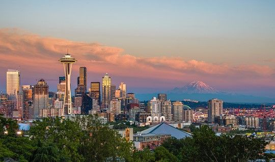 """Seattle, dubbed the """"Emerald City,"""" is encompassed by acres of lush parkland and is home to the Space Needle. Spend an evening at the top of this iconic landmark where you can take in 360 degree views of the Pacific Northwest."""