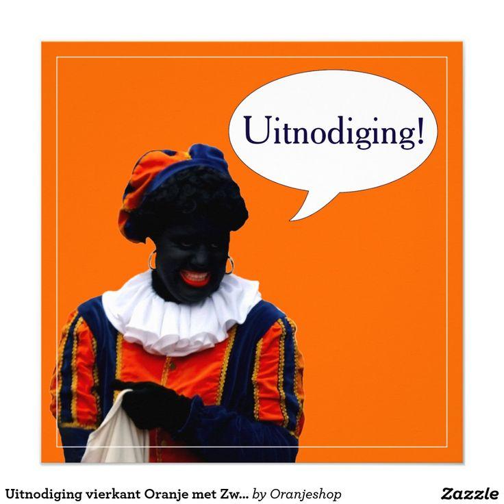 Uitnodiging vierkant Oranje met Zwarte Piet 5.25x5.25 Square Paper Invitation Card