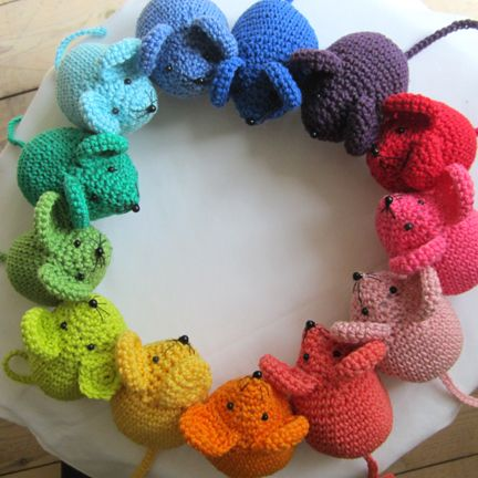 Crochet mice. I would love to make a few of these and stuff them with cat nip to donate to the humane society. :) I am sure their kitties would love these. :)