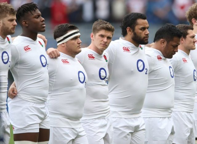 Sarries boys in their England shirts during the National anthems of the Six Nations 2016 - Kruis, Itoje, George, Farrell, B. Vunipola, M. Vunipola, Goode