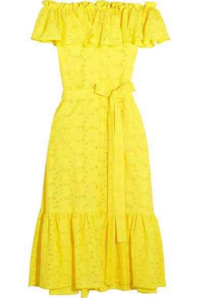 Inspired by the much-loved 'Mira' bikini, Lisa Marie Fernandez' midi dress is cut in a pretty ruffled off-the-shoulder silhouette. This piece is made from delicate floral broderie anglaise cotton in a sunny yellow hue. Use the tie to define your waist.