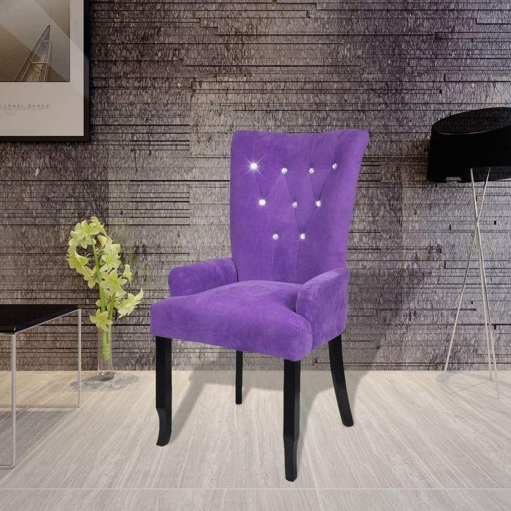 # Vintage Purple Dining Chair High Back Velvet Upholstery Armchair Timber Legs