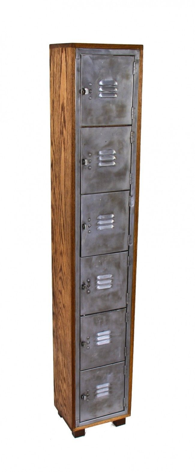 repurposed vintage american industrial cold-rolled heavy gauge steel compartmentalized freestanding locker with newly added oak wood cabinet