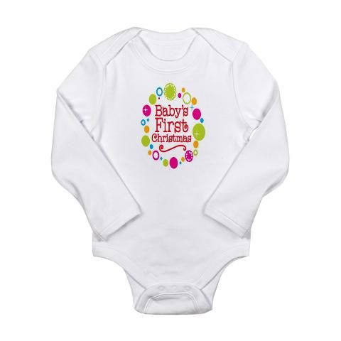 Baby's 1st Christmas Long Sleeve shirt. Available at: http://www.cafepress.com/miamoondesigns.1428251247