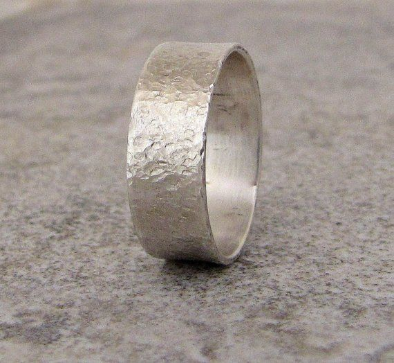 Mens Wedding Band Hammered Silver Wedding Ring by SilverSmack
