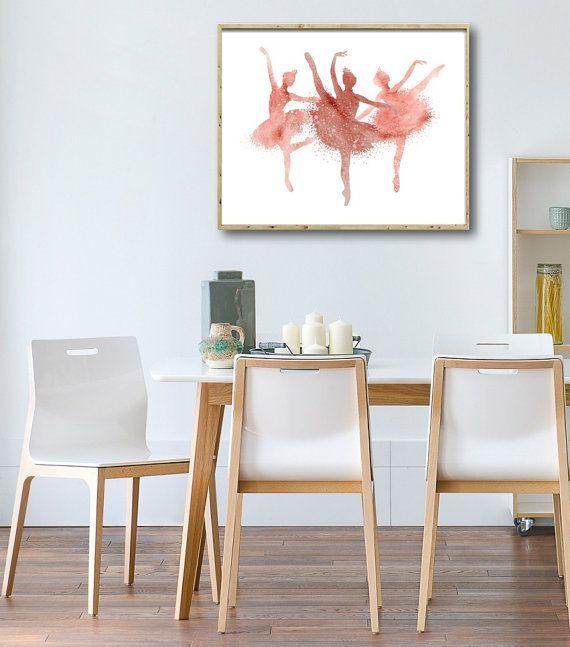 Three Ballerinas Watercolor Art Print Home Wall Décor by QPrints