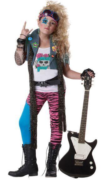 Girls Child 80s Deluxe Glam Rocker Rock Super Star Costume W/ Tattoo ...