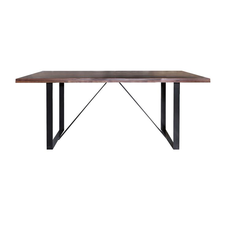 Dining table walnut sealed top on mild steel epoxy U frame