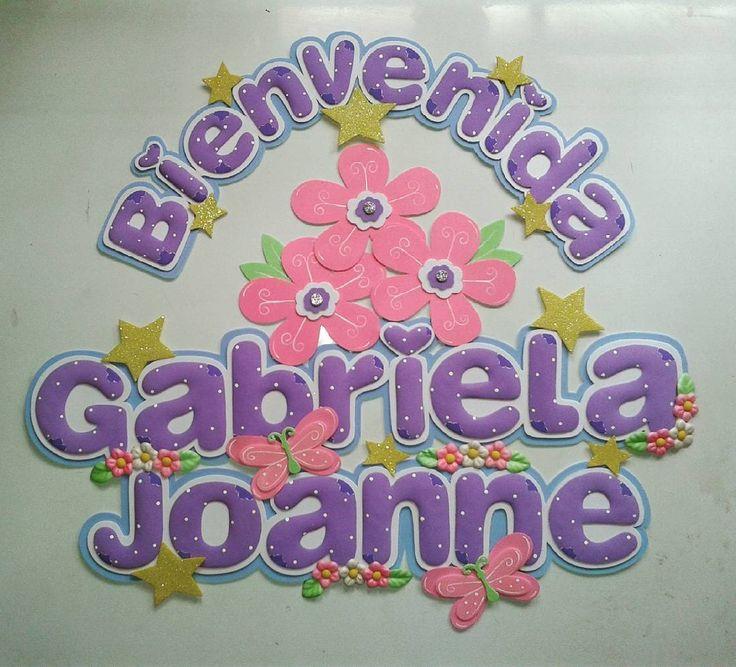 #foami #gomaeva #eva #nombres #name #letreros #deco #decoracion #habitacion #niñas #flores #mariposa by idearteyg