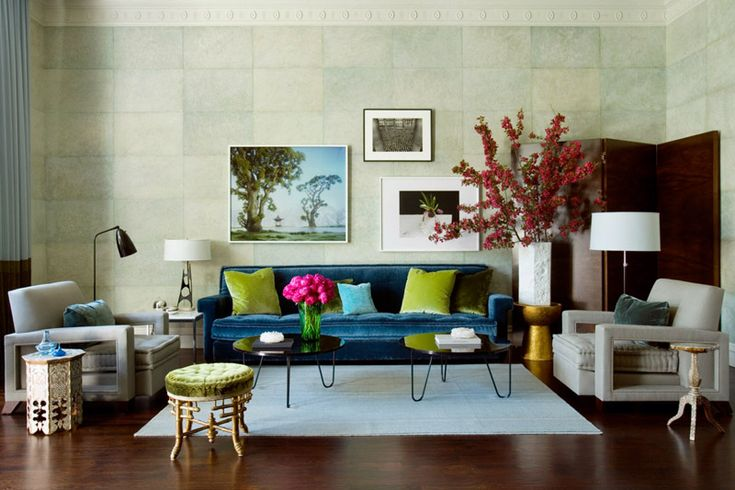In love with this living room green eclectic living room living room designs - Cannon bullock wallpaper ...