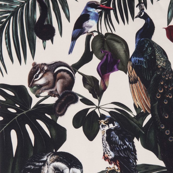 Amazonia Light Fabric by Witch and Watchman in Velvet and Cotton Featuring tropical palm leaves, cheese plants, fern leaves, peacocks, lemurs, owls and other birds and animals!