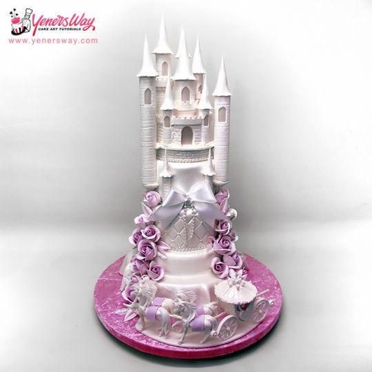 Сказочный замок и лошадь и карета торт