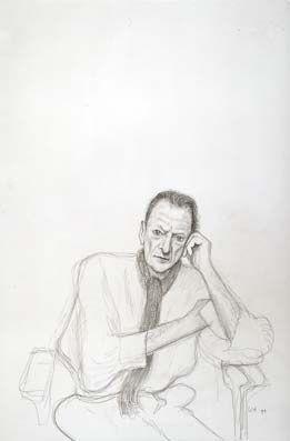 David Hockney - Lucien Freud, 1999. Pencil on grey paper using camera lucida.