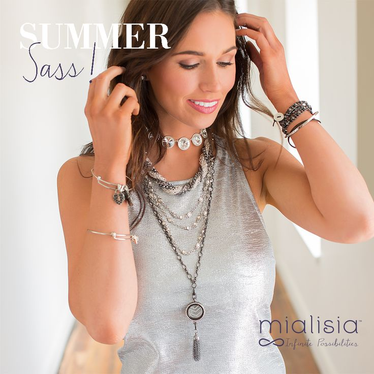 Create a sassy Summer look with lots of layering and mixed metals with Mialisia VersaStyle™ chains, lockets, bangles, wraps.