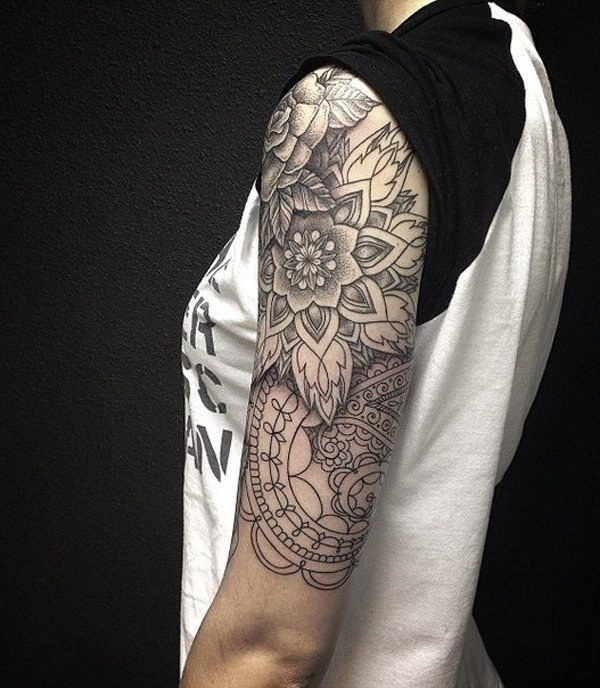 Black and White Arm Sleeve Tattoo.