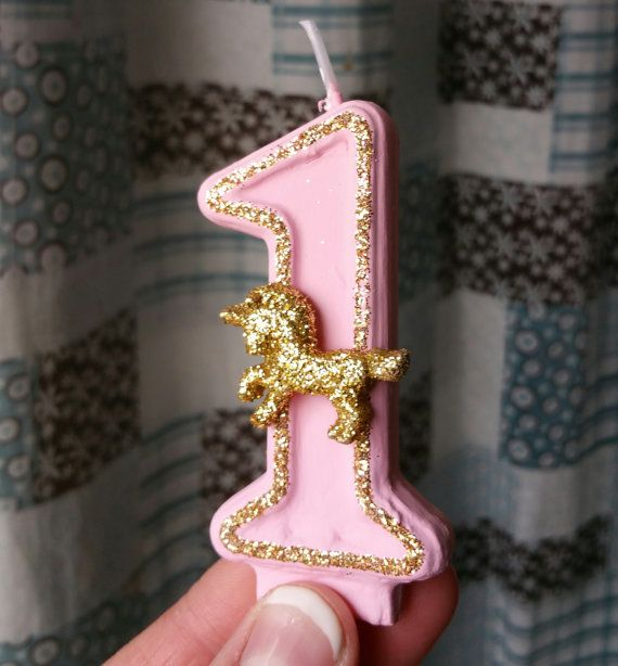 FOOD PRESENTATION OPTION: Sparkly birthday candle gold and pink birthday by SweetLilPeaches