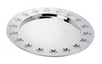 Girotondo stainless steel 40cm tray by alessi. The little men holes round the edge have been punched out of the tray using a multiple punch. It maybe that it was shallow formed at the same time as punching or it could have been formed then punched.