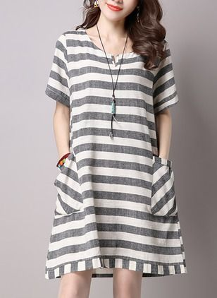 Polyester Stripe Short Sleeve Above Knee Casual Dresses (1036681) @ floryday.com