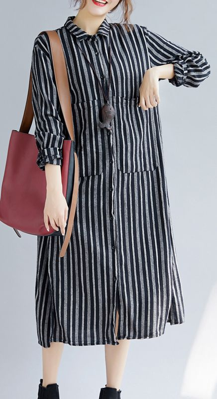 58f0dee26c9 Fine-black-striped-natural-cotton-linen-shirt-dress -plus-size-Turn-down-Collar-side-open-Fine-long-sleeve-pockets-maxi-shirt- dresses