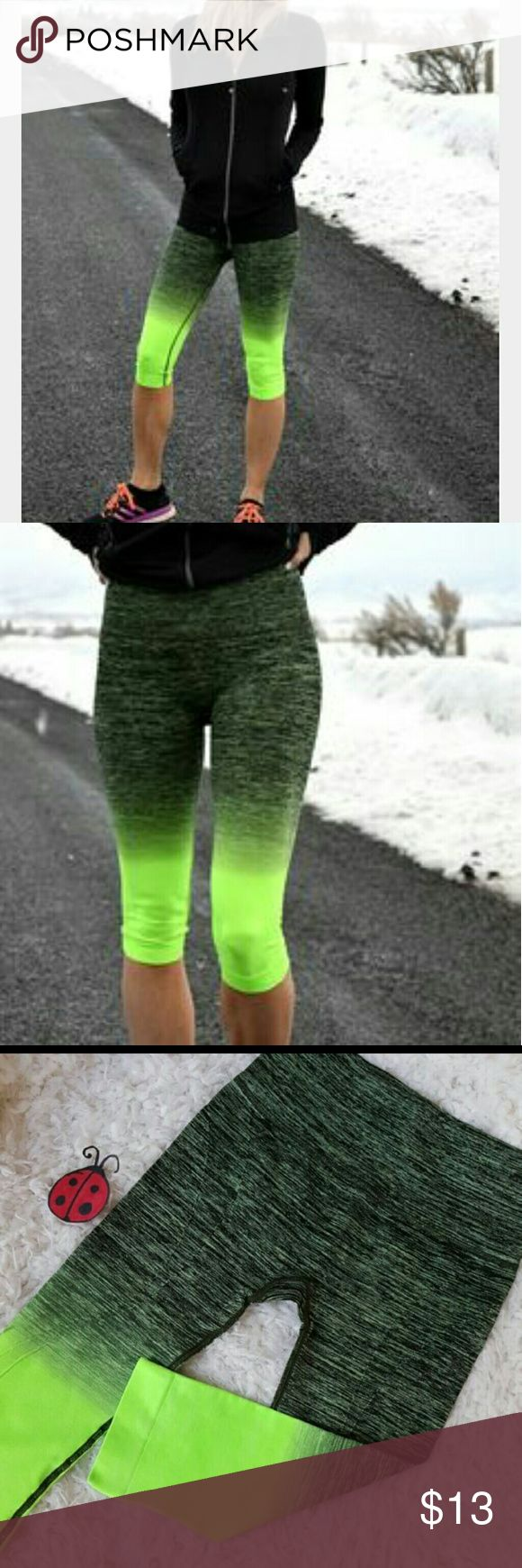 Sale black green ombre yoga workout leggings Sale sale sale !!!!! Black neon green  ombre capri  yoga workout leggings in a size small,with four way stretch, wicking, and flat seems for extra comfort.  Perfect for the gym, yoga, running , weight lifting or every day wear! 88% nylon,12% spandex.  leggings run on the smaller side please order a size up  Also available in s, m , l , xl Pants Leggings