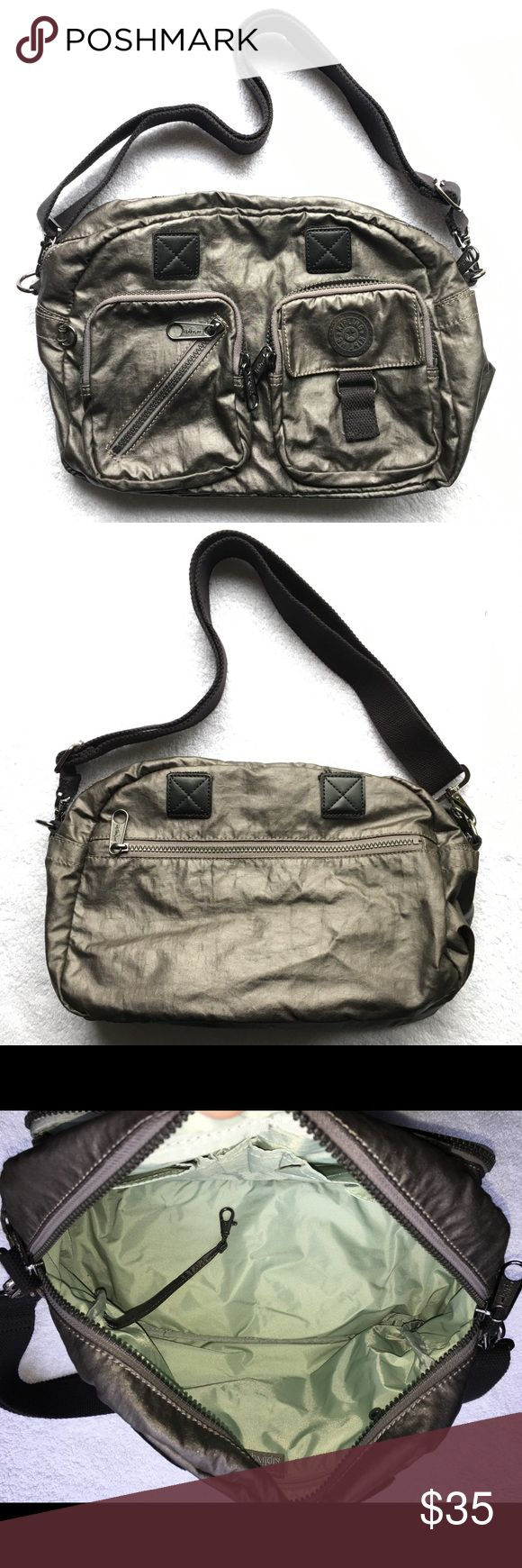 "Kipling Platinum Metallic Satchel Crossbody Bag Utility and Style! Like the popular  ""Defea"" bag  Great, gently used condition Kipling Bags Crossbody Bags"