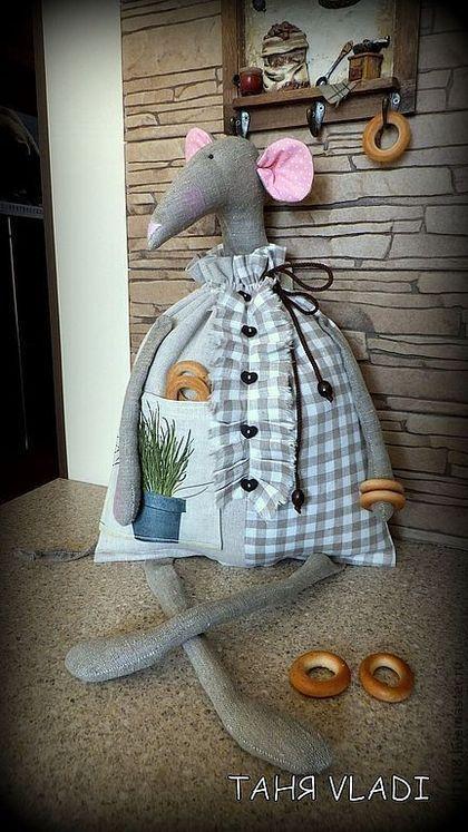 Кухня ручной работы. Ярмарка Мастеров - ручная работа. Купить У вас на кухне МЫШЬ !!!! (пакетница). Handmade. Серый