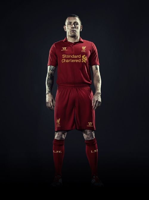 Craig Bellamy models the new Liverpool FC 2012-13 kit.    Click on the link below to pre-order the kit today from the Official LFC Online Store and receive a free LFC t-shirt while stocks last  http://store.liverpoolfc.tv/
