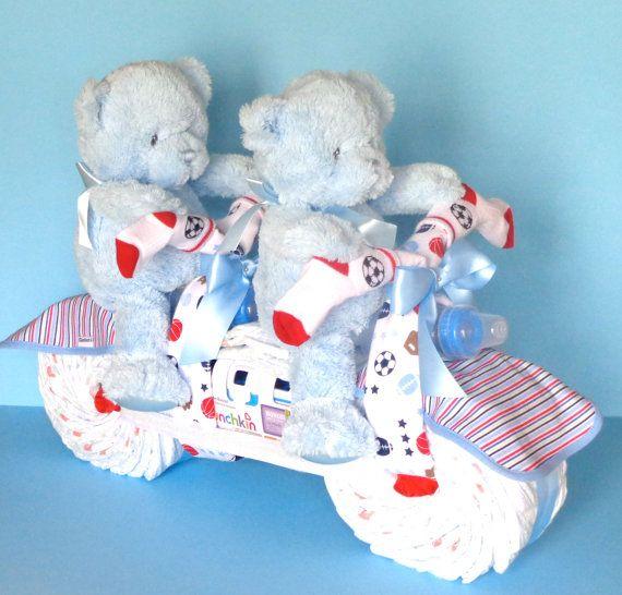 Twin Diaper Cake Diaper Tandem Bike by PamperedBabyCreation