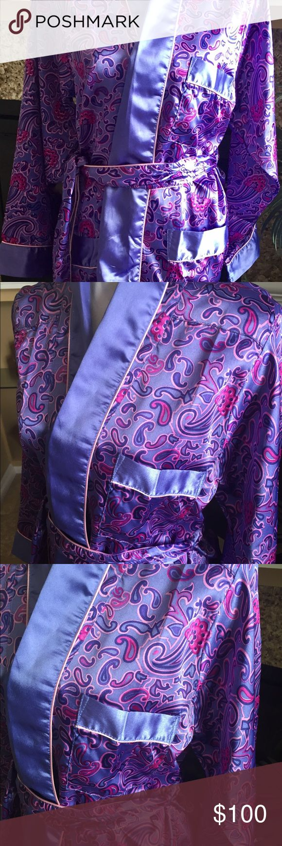"""Paisley Satin Feel Wrap Robe """"Fernando Sanchez Red"""" Stunning Paisley Print Long Robe with Banded Solid Blue. Poly blend fabric feels like Satin. Very pretty. Fernando Sanchez Red Intimates & Sleepwear Robes"""