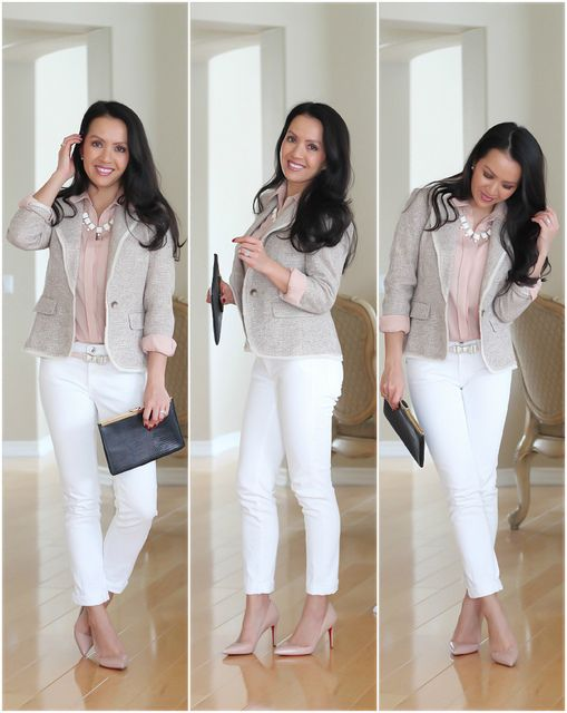 Super bright, age-appropriate work outfit. Pair white pants with a tweed jacket that has white piping. Go for a dusty light pink for a subtle hint of color!
