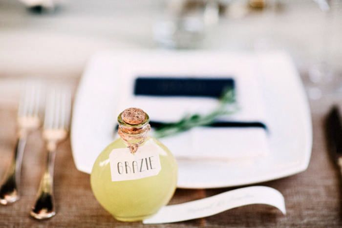 Mini bottles of Limoncello wedding favors. Photo by Jason & Anna Photography. #weddingfavors