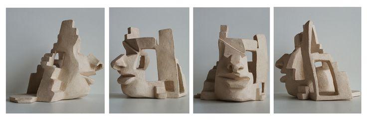 Rzeźba ceramiczna - głowa w Ursu Design na DaWanda.com